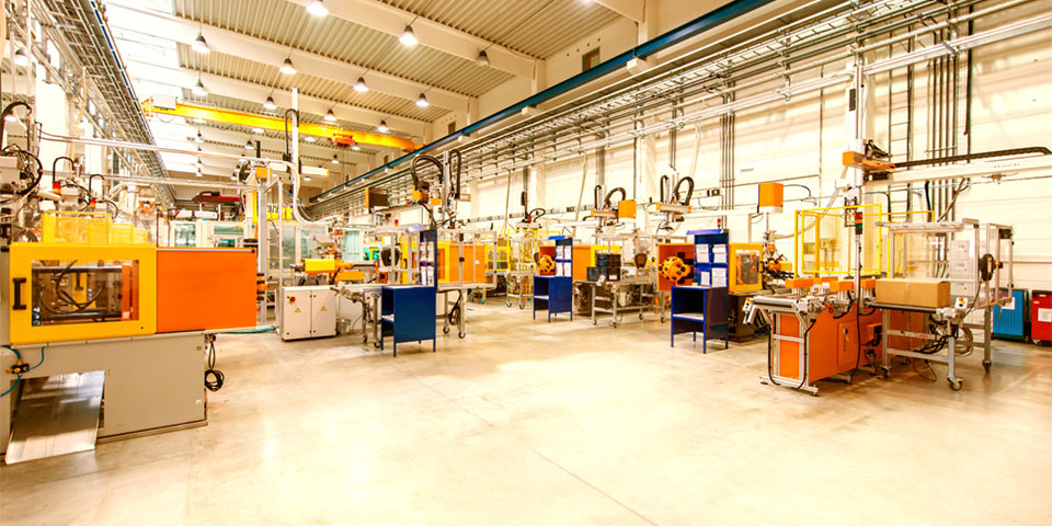 Futuristic machinery in production line Warm White